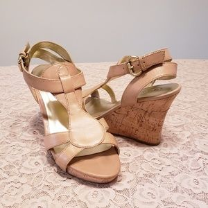 Guess. Tan Leather Wedges